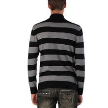 Load image into Gallery viewer, Sandals Cay Men's Half Zip Stripe Wool Blend Sweater - Black/Gray