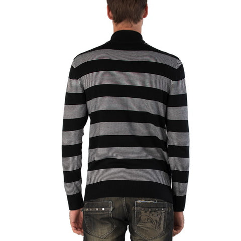 Sandals Cay Men's Half Zip Stripe Wool Blend Sweater - Black/Gray