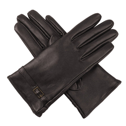 Luxury Lane Women's Cashmere Lined Lambskin Leather Gloves with Buckle