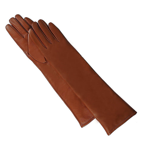 Luxury Lane Women's Cashmere Lined Lambskin Leather Long Gloves