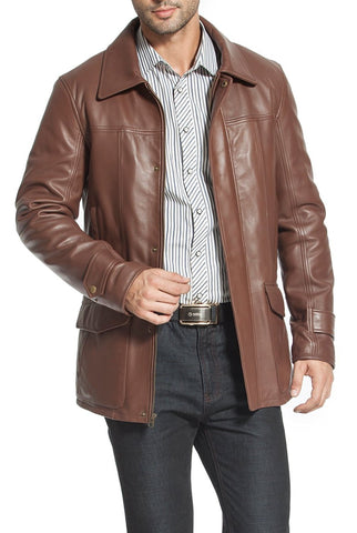 bgsd mens hunter patch pocket lambskin leather coat