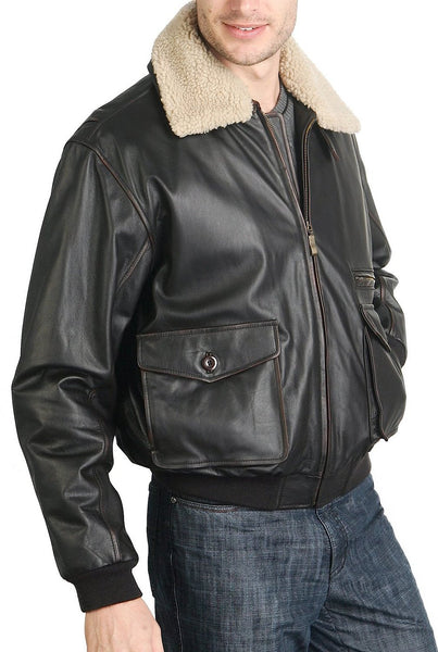 bgsd mens vintage cowhide leather flight bomber jacket tall
