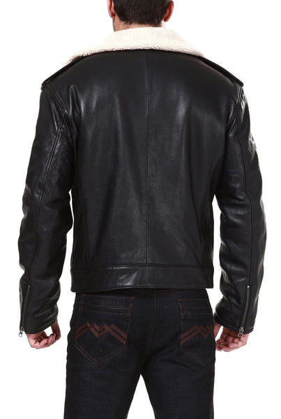 "BGSD Men's ""Grant"" New Zealand Lambskin Leather Motorcycle Jacket"