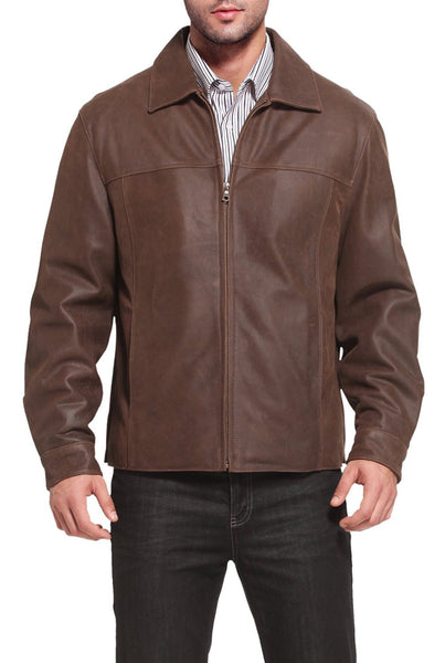 "BGSD Men's ""Silas"" Distressed Cowhide Leather Hipster Jacket"