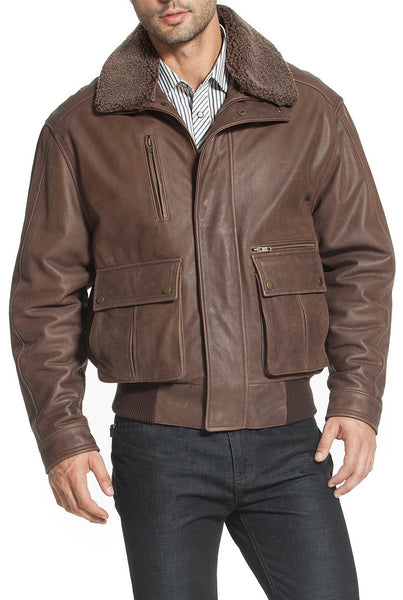 "Landing Leathers Men's ""Jeff"" Distressed Leather Bomber Jacket"