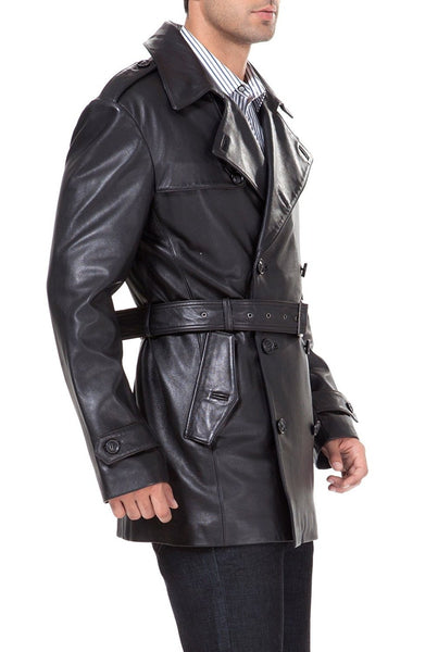 bgsd mens damian new zealand lambskin leather trench coat