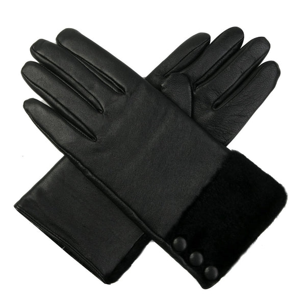 Luxury Lane Women's Fur & Button Trim Cashmere Lined Lambskin Leather Gloves