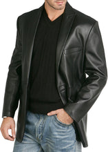 "Load image into Gallery viewer, BGSD Men's ""Judd"" One-Button Lambskin Leather Blazer"