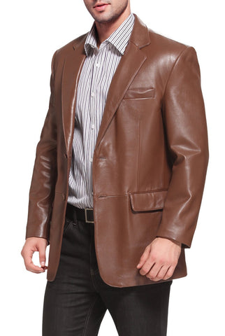 bgsd mens richard classic two button new zealand lambskin leather blazer tall 2