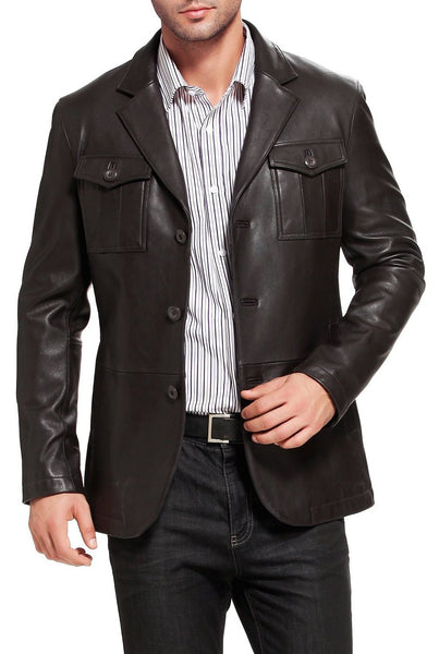 bgsd mens corey military style new zealand lambskin leather blazer