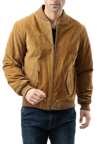"BGSD Men's ""Wallace"" Suede Leather Bomber Jacket"