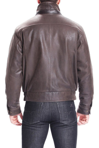 "BGSD Men's ""Tyler"" Distressed Leather Bomber Jacket"