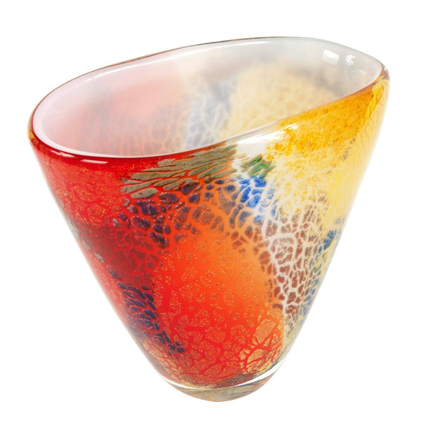 "Luxury Lane Hand Blown Multicolor Abstract Art Glass Vase 8"" tall"