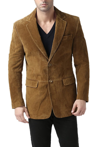 "BGSD Men's ""Cliff"" Classic Two-Button Suede Leather Blazer - Tall"
