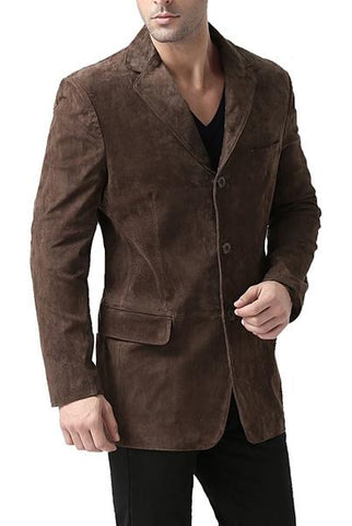 "BGSD Men's ""Robert"" Three-Button Suede Leather Blazer - Short"