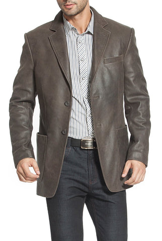 bgsd mens eric three button vintage cowhide leather blazer