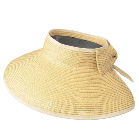 Luxury Lane Women's Beige Wide Brim Straw Sun Visor Hat
