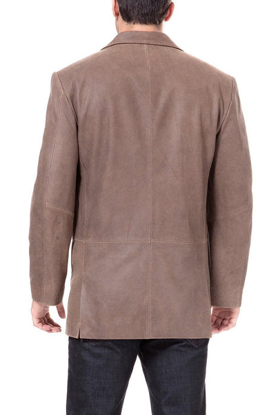 BGSD Men's Vintage Three-Button Cowhide Leather Blazer - Tall