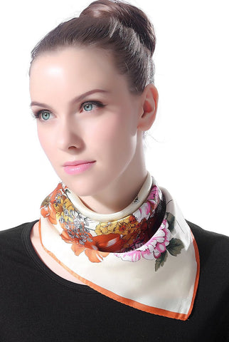 "Luxury Lane Women's ""Vintage Flower"" Silk Square Scarf"