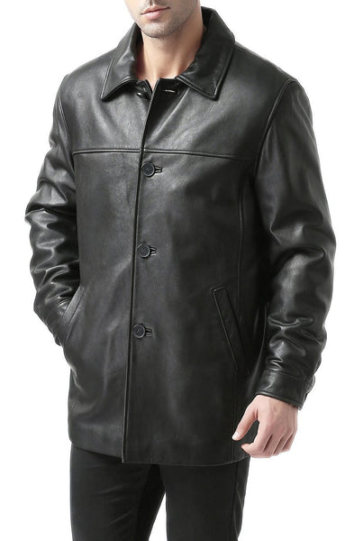 "BGSD Men's ""Samuel"" New Zealand Lambskin Leather Car Coat - Short"