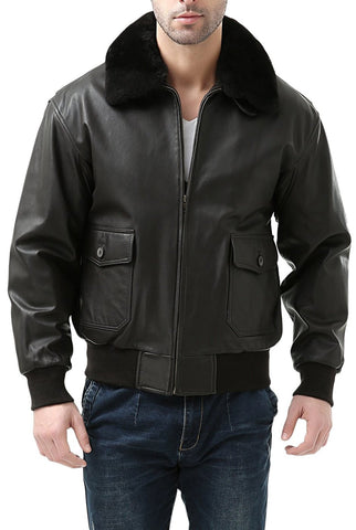Landing Leathers Men's Premium Navy G1 Goatskin Leather Flight Bomber Jacket (G-1) - Short