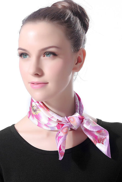 "Luxury Lane Women's ""Pink & Purple Cherry Blossom"" Silk Square Scarf"