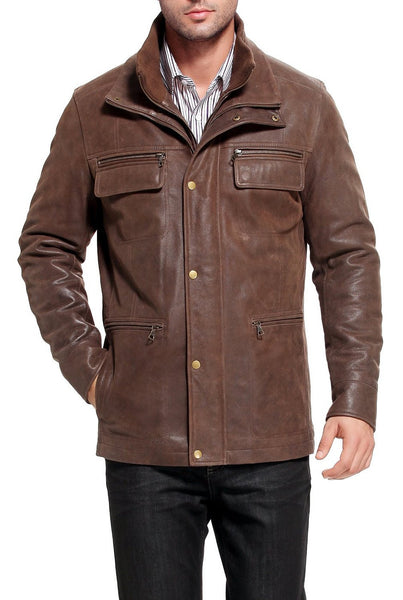 bgsd mens austin distressed cowhide leather hipster jacket