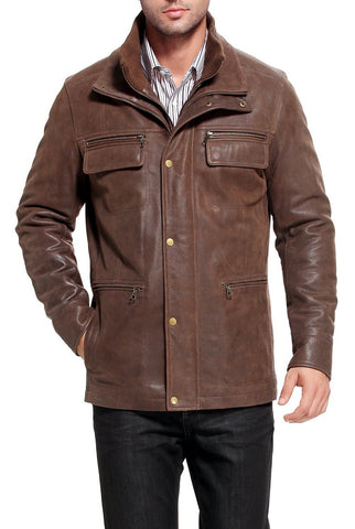 "BGSD Men's ""Austin"" Distressed Cowhide Leather Hipster Jacket"