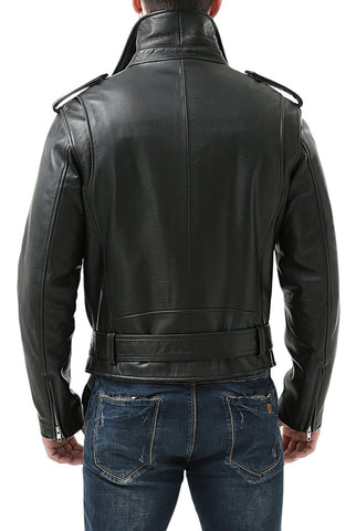 BGSD Men's Classic Cowhide Leather Motorcycle Jacket - Tall