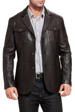 Load image into Gallery viewer, bgsd mens corey military style new zealand lambskin leather blazer