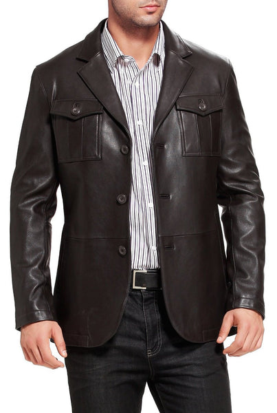 "BGSD Men's ""Corey"" Military Style New Zealand Lambskin Leather Blazer"