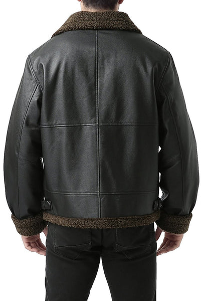 Landing Leathers Men's B-3 Sherpa Lined Leather Flight Bomber Jacket