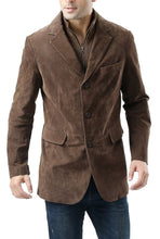 "Load image into Gallery viewer, BGSD Men's ""Brett"" Suede Leather Blazer with Zip-Out Bib"