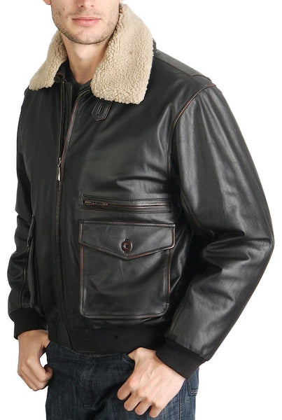 bgsd mens vintage cowhide leather flight bomber jacket