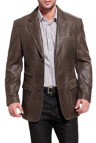 "BGSD Men's ""Mark"" Three-Button Distressed Cowhide Leather Blazer"