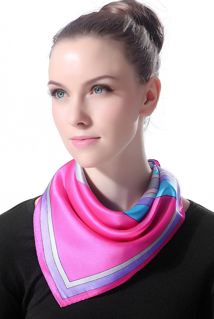 "Luxury Lane Women's ""Pink, Purple & Gray"" Silk Square Scarf"
