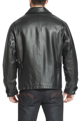 "BGSD Men's ""Greg"" Open Bottom Zip Front Leather Jacket"