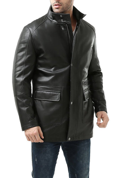 "BGSD Men's ""Kyle"" New Zealand Lambskin Leather Car Coat"