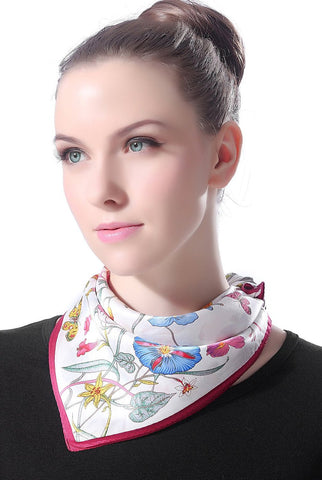 "Luxury Lane Women's ""Flowers & Butterflies"" Silk Square Scarf"