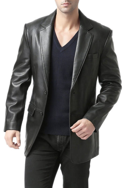 "BGSD Men's ""Richard"" Classic Two-Button New Zealand Lambskin Leather Blazer - Tall Long"