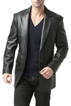 "Load image into Gallery viewer, BGSD Men's ""Richard"" Classic Two-Button Lambskin Leather Blazer - Big"