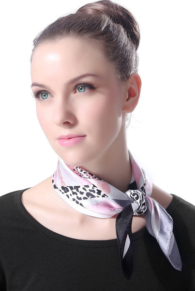 "Luxury Lane Women's ""Chain & Belt"" Silk Square Scarf"