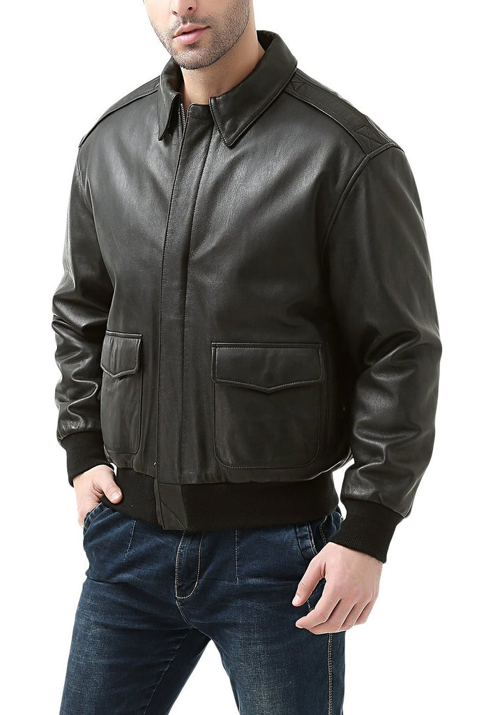0b66fcb40 Landing Leathers Men's Premium Air Force A2 Goatskin Leather Flight Bomber  Jacket (A-2) - Big & Tall