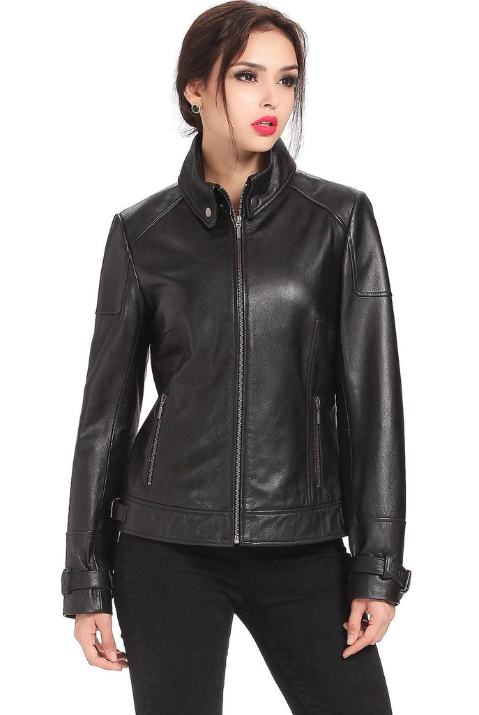 bgsd womens melanie cowhide leather motorcycle jacket