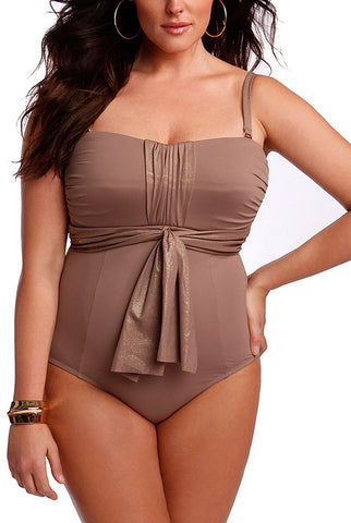 Sorella Women's Plus Size Foil Sash One-Piece Swimsuit