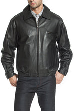 "Load image into Gallery viewer, BGSD Men's ""Aaron"" Classic Cowhide Leather Bomber Jacket"