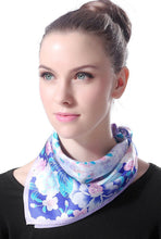 "Load image into Gallery viewer, Luxury Lane Women's ""Purple & Blue Cherry Blossom"" Silk Square Scarf"