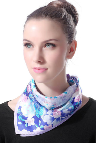 "Luxury Lane Women's ""Purple & Blue Cherry Blossom"" Silk Square Scarf"