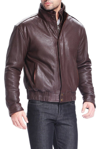 "BGSD Men's ""Brandon"" Pebbled Lambskin Leather  Bomber Jacket"
