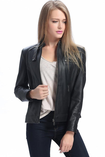 bgsd womens julie cowhide leather motorcycle jacket